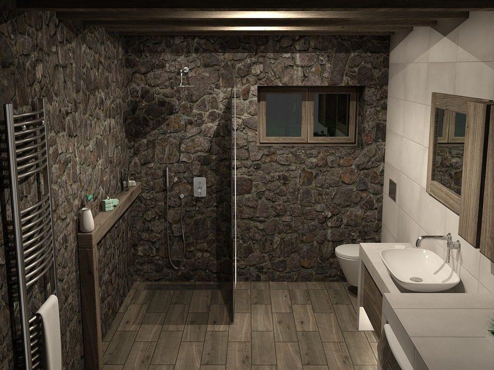 baño con piedras naturales