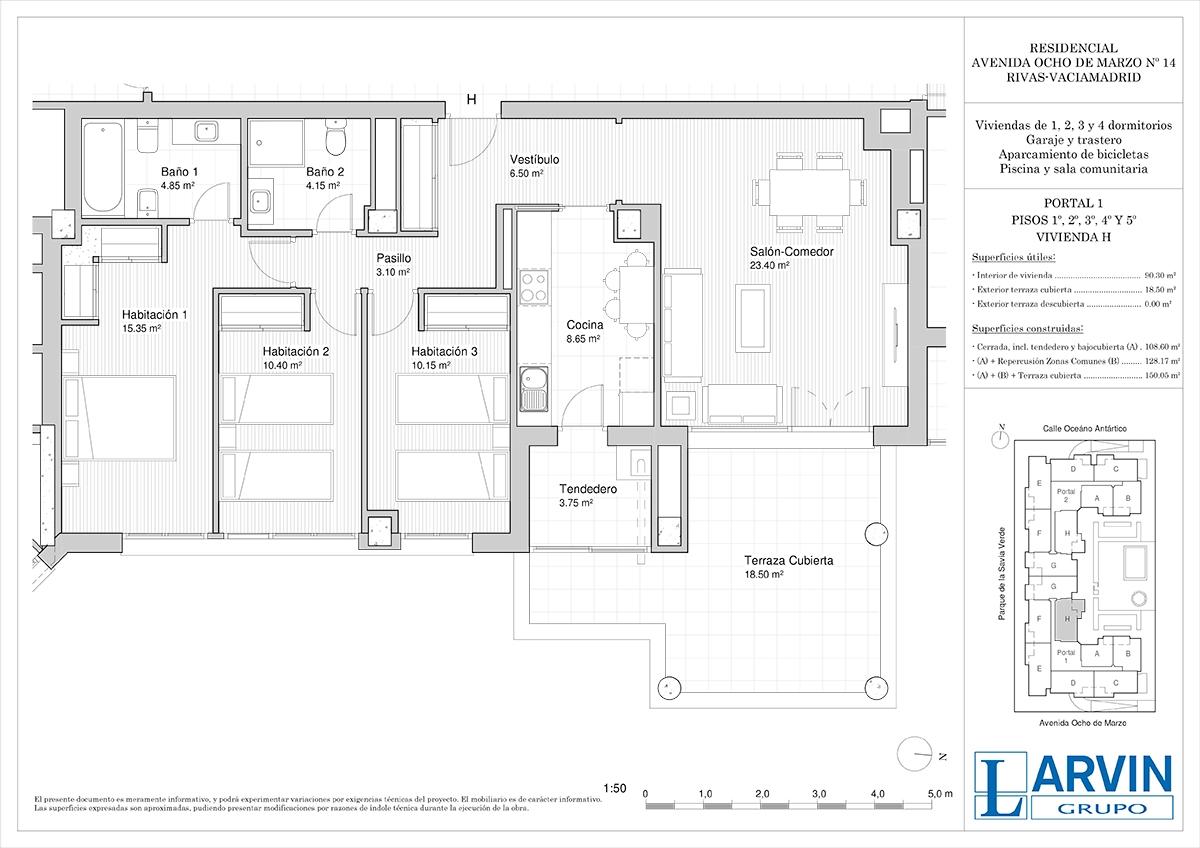 plano piso rivas residencial 8 de marzo pisos portal H
